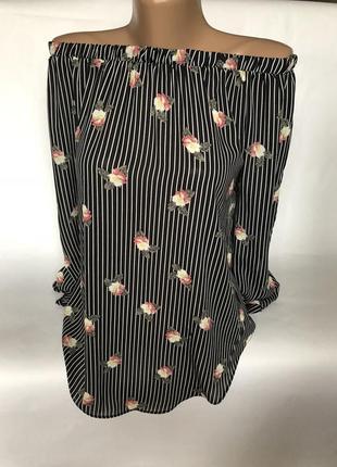 Стильная блуза в полоску с цветами
