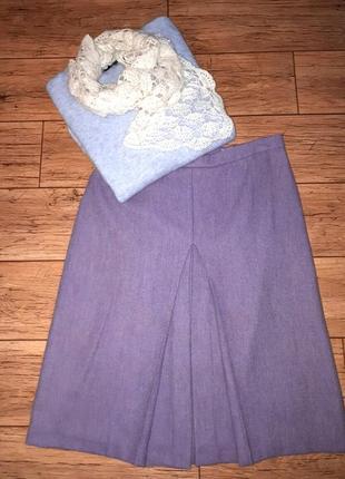 Нежно-сиреневая юбка миди шерстяная плиссе трапеция на осень зиму с подкладкой.теплая