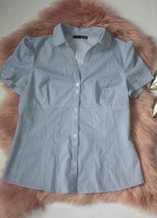 Рубашка в полоску новая с биркой рукава фонарики офисная atmosphere 14р (к033)