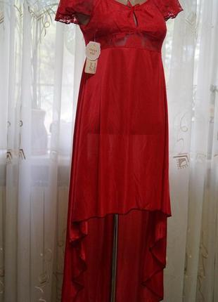 Красный пеньюар платье асимметричного кроя со шлейфом
