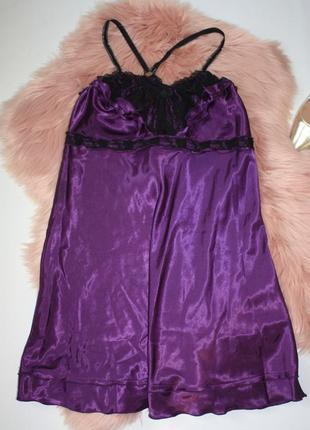 Ночная рубашка ночнушка фиолетовая с кружевом атлас ninex lingerie (к027)