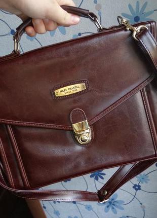 Мужская 100% натуральная кожа сумка-портфель marc chantale