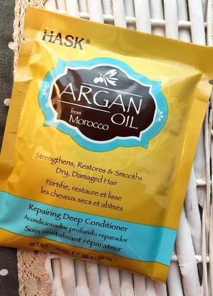 Глубоко восстанавливающий уход с аргановым маслом и кератином (usa) hask argan oil - 50g