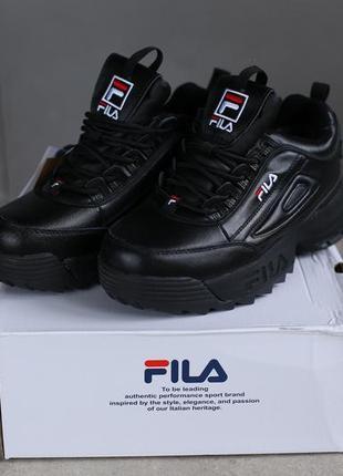 Ботинки зимние женские fila disruptor black черные