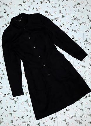 Стильное фирменное черное джинсовое пальто с узором marks&spencer, длинное, размер 42-44