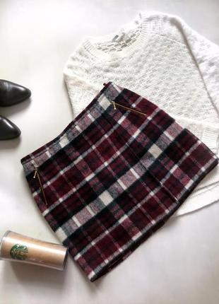 Трендовая тёплая юбка в клетку