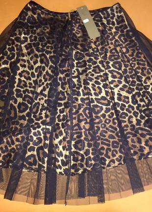 Шикарная юбка плиссе joie clair italy леопардовая 🇮🇹 р.m новая коллекция.