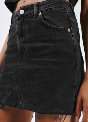 Чёрная джинсовая юбка трапеция