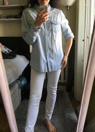 Идеальная джинсовая рубашка 10-12-14 на заклёпках
