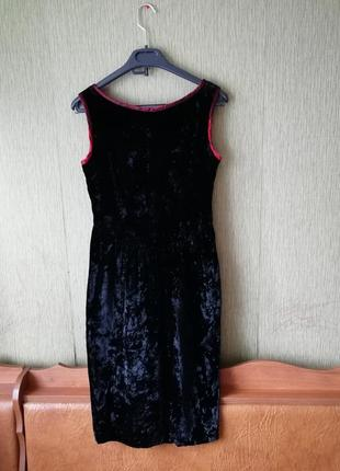 🌹 чёрное бархатное платье миди🌹 платье футляр next
