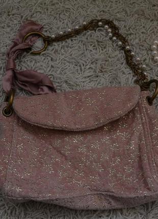 Маленькая вечерняя велюровая сумочка, золотой узор, жемчуг, цепочка, ленточка1 фото