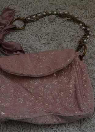 Маленькая вечерняя велюровая сумочка, золотой узор, жемчуг, цепочка, ленточка2 фото