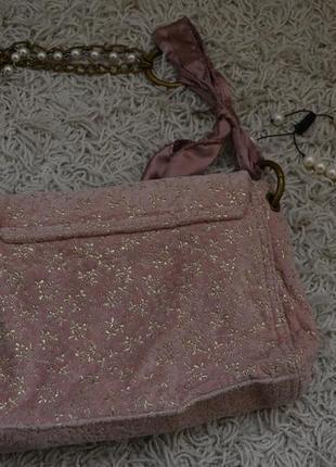 Маленькая вечерняя велюровая сумочка, золотой узор, жемчуг, цепочка, ленточка3 фото