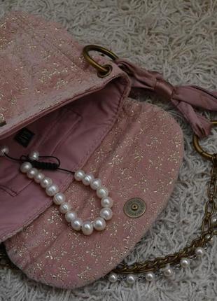 Маленькая вечерняя велюровая сумочка, золотой узор, жемчуг, цепочка, ленточка4 фото