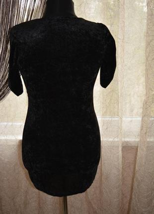 Маленькое черное бархатное, велюровое платье3