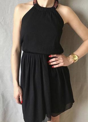 Коктейльное чёрное платье zara