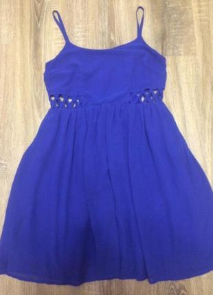 Платье пышное шифоновое летнее цвета электрик 44 синее сукня міні шифон