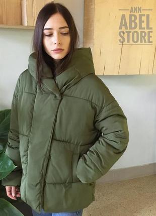 Последняя! зимняя матовая куртка зефирка пуховик цвета хаки в стиле zara