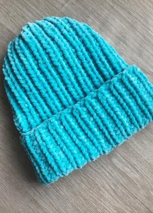 Шапка вязаная ручная работа бирюзовая велюр новая handmade теплая зима