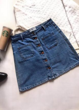 Супер трендовая джинсовая юбка трапеция на пуговицах