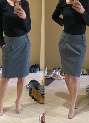 Оригинал gunex линия brunello cucinelli серая юбка миди с карманами