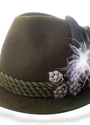Баварская тирольская шляпа  охотника мужская  зеленая плюмаж перья