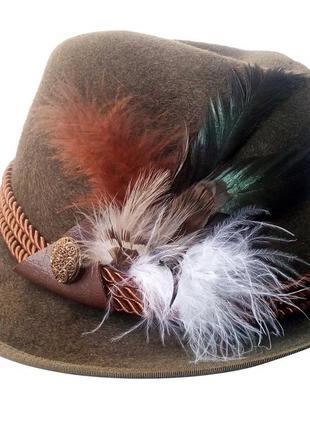 Мужская шляпа  охотника горчично-коричневого цвета, 100% шерсть, плюмаж перья