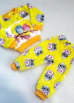 Пижамы теплые махровые, плюшевые для девочки и мальчика разные рост 68-104см