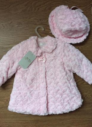 Розовая эко шубка пальто куртка демисезонная размер 80