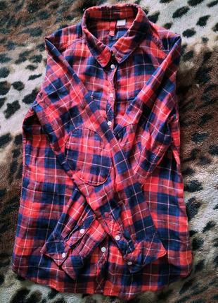 Клетчатая рубашка h&m divided 100% хлопок