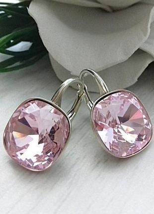 Серебряные серьги со сваровски rosaline