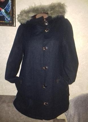 Темно-синее зимнее пальто-дафлкот pull&bear,шерсть