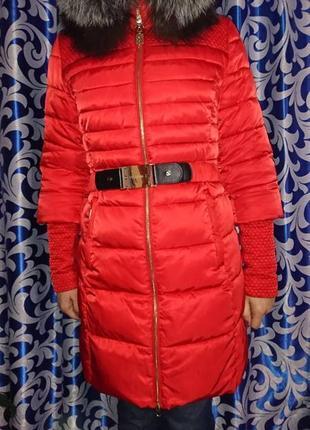 Зимняя куртка пуховик на халафайбере с мехом чернобурки