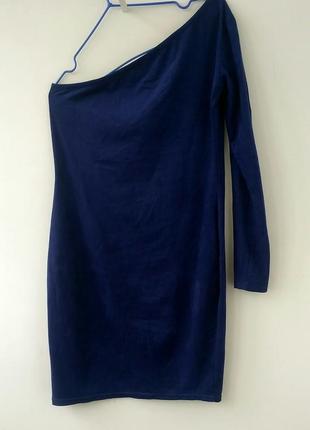 Скидка акция синее платье силуэт  с рукавом реглан размер m корпоратив новый год