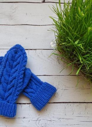 Синие вязаные теплые варежки с узором косы hand made ручная работа