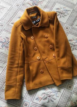Пальто { осенне, горчичное, короткое, рыжее, season, тёплое, с воротником, стильное}