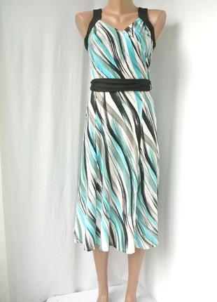 Новое красивое длинное платье wallis с узором в зелено-белых тонах. размер uk12 (m/l).