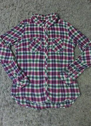 Рубашка в клетку розовая теплая котоновая на байке кофта свитер пусер пуловер