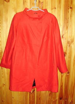 Новое теплое стильное пальто оверсайз/состав шерсть и вискоза/батал/24/58-60 размера