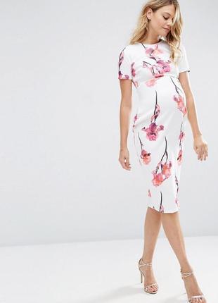 Белое платье миди для беременных asos tall materniti