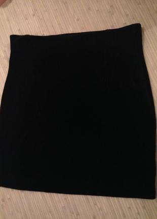 Чёрная велюровая юбка