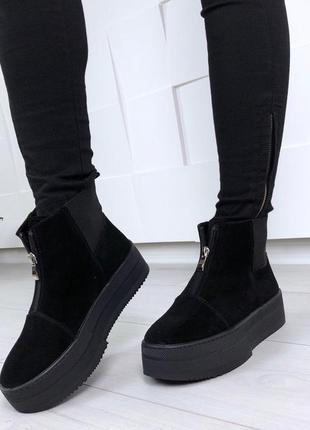 Рр 38 по скидке зима натуральный замш люксовые стильные черные ботинки на платформе