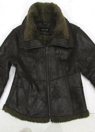Теплая фирменная дубленка-куртка