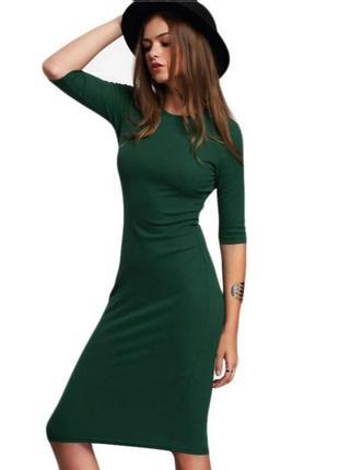 Платье в рубчик миди