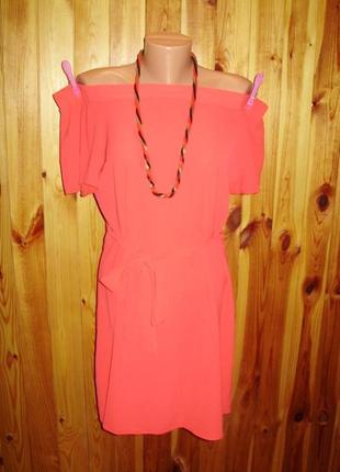 Распродажа!коралловое платье со спущенными плечами под поясок 10/44 размера