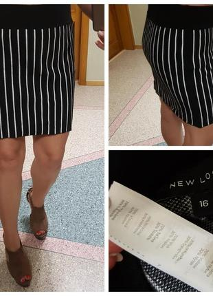 Демисезонная короткая юбка в полоску new look (трикотаж)