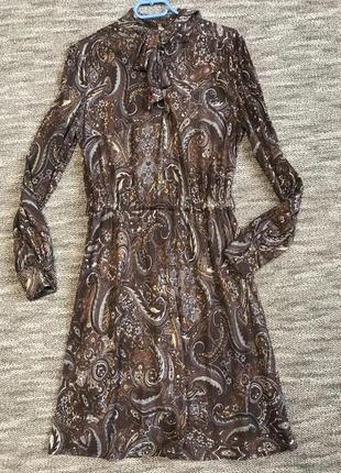 Коричневое платье миди mango