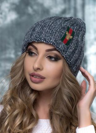Очень красивая шапка в составе шерсть и мохер
