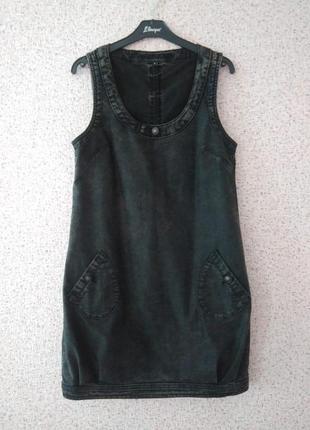 Джинсовый сарафан платье прямого свободного кроя