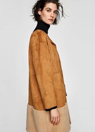 Стильное пальто с меховым низом от zara